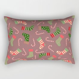 Hand painted green red white Christmas socks candy pattern Rectangular Pillow