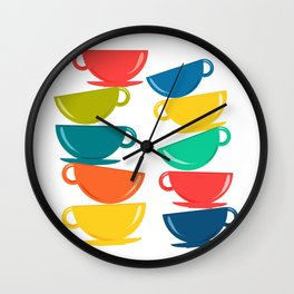 A Teetering Tower Of Colorful Tea Cups Wall Clock