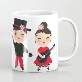 Spanish flamenco dancer. Kawaii cute face with pink cheeks and winking eyes. Gipsy Coffee Mug
