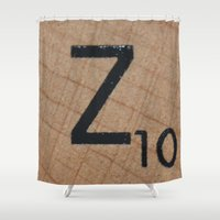 dragonball z Shower Curtains featuring Tile Z by Beastie Toyz