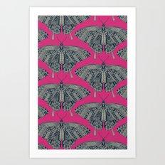 swallowtail butterfly pink indigo Art Print