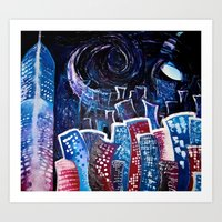 starry night Art Prints featuring Todays' 'Starry Starry Night' by Cassandra Evelyn