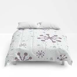 Winter Pattern with subtle snowflakes on white background with tiny dots Comforters