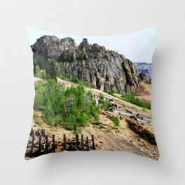Sunnyside Mill and Rocky Crags Towering Overhead Throw Pillow