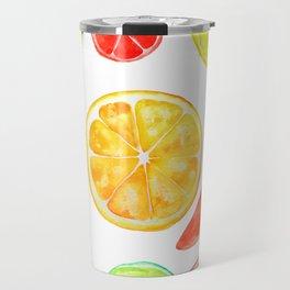 colorful citrus fruit watercolor Travel Mug