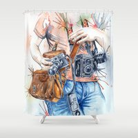 photographer Shower Curtains featuring The Photographer by Veronika Neto