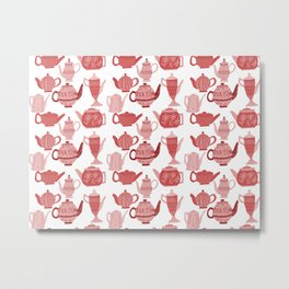 Vintage Tea Pots Time for Tea Red and Pink on White Art Metal Print