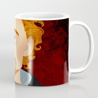 tom hiddleston Mugs featuring Portrait: Tom Hiddleston by Delucienne Maekerr