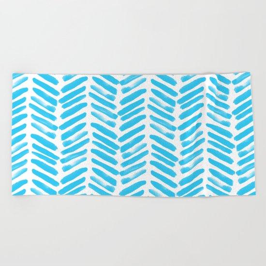 Simple Aqua and white handrawn chevron - horizontal - for your summer on #Society6 Beach Towel