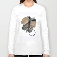hiking Long Sleeve T-shirts featuring Hiking Boots by Ann Horn