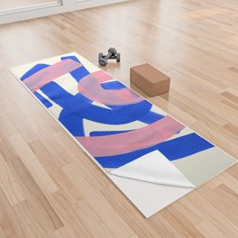 Tribal Pink Blue Fun Colorful Mid Century Modern Abstract Painting Shapes Pattern Yoga Towel
