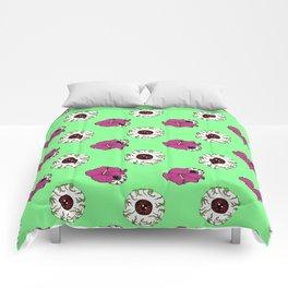 Hibiscus Eyeball Repeat in Zombie Green Comforters