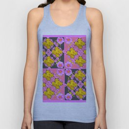 Pink-Grey Quarter Panel Floral Pattern Unisex Tank Top