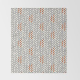 Orange and Grey Wheat Pattern Throw Blanket