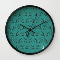 antlers Wall Clocks featuring Antlers by hannahclairehughes