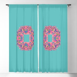 NARCISSUS fuchsia pink turquoise blue geometric holiday wreath Blackout Curtain