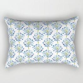 Heart Flower - Blue Rectangular Pillow