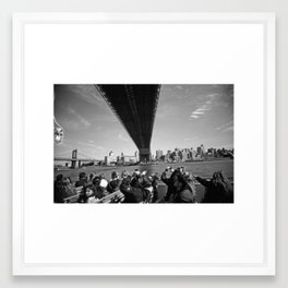 Tourists Under the Manhattan Bridge Framed Art Print