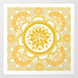 Orange Kaleidoscope Patterned Mandala Art Print