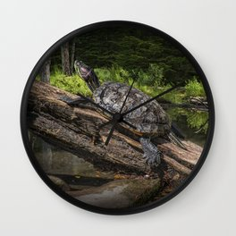 Painted Turtle sitting on a Log Wall Clock