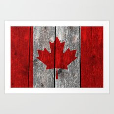Canada flag on heavily textured woodgrain  Art Print