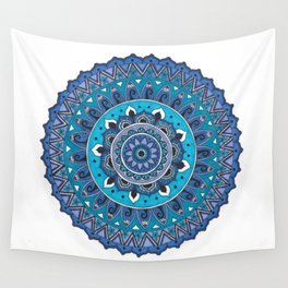 Blue Mandala Art Wall Tapestry