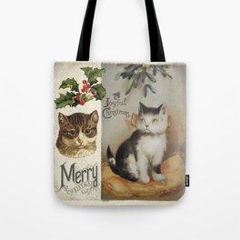 Merry Catmas vintage cat xmas illustration Tote Bag