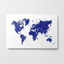 Vintage navy blue world map Metal Print