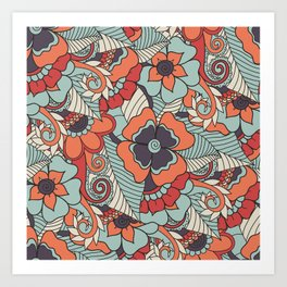 Colorful Vintage Floral Pattern Art Print