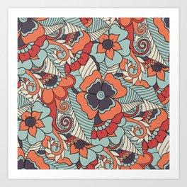 Colorful Vintage Floral Pattern Art Print