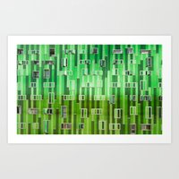 green pattern Art Prints featuring Green Pattern by Maria Eugenia Espino