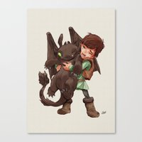 hiccup Canvas Prints featuring Hiccup & Toothless - Childhood  by David Tako