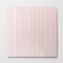 Pink Stripes & Grey Metal Print