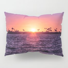 Mission Bay Palm Tree Sunset in San Diego, California Pillow Sham