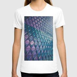 Neon Blue Purple Geometric Pattern T-shirt