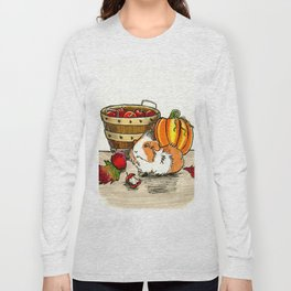 Autumn guinea pig with apples and pumpkin Long Sleeve T-shirt