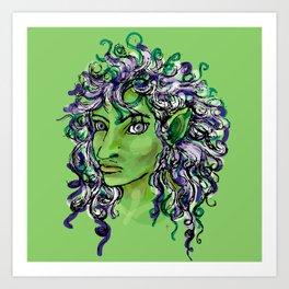 Female elf profile 1e Art Print