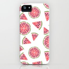 Modern pink green watercolor hand painted watermelon pattern iPhone Case