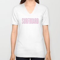 surfboard V-neck T-shirts featuring Surfboard by Marianna