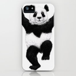 Panda Crane Technique - charcoal drawing iPhone Case