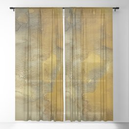 Gold and Bronze Watercolor Sheer Curtain