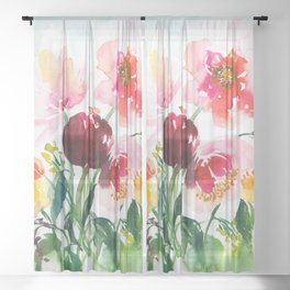 little garden with peonies Sheer Curtain