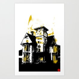 HelloHorror Issue 3 Cover Detail - haunted house Art Print