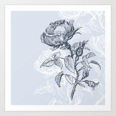 Graphic drawing roses Art Print