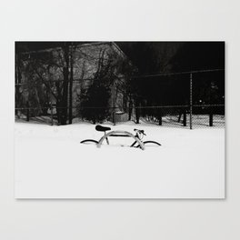Bike in Snow Canvas Print