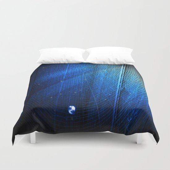 🔵Raindrop on Blue Web Duvet Cover