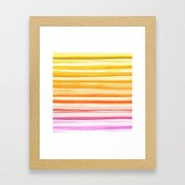 Pink Orange Yellow Ombre Fade Watercolor Brushstroke Ink Framed Art Print