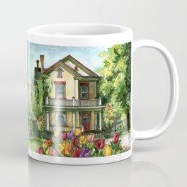 Farmhouse with Spring Tulips Coffee Mug