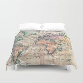 Vintage World Map 1801 Duvet Cover