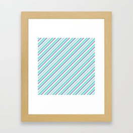 Deep Sea Green Turquoise Violet Inclined Stripes Framed Art Print